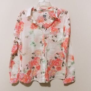 Old Navy Classic Floral Button Down Shirt (XL)